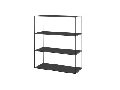 Twin Bookcase - 4 Shelves Black