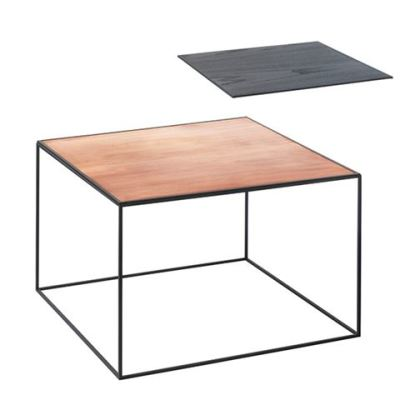 Twin Table - Rectangular Copper & Black Stained Ash, Black Frame
