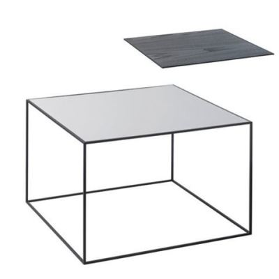 Twin Table - Rectangular Cool Grey & Black Stained Ash, Black Frame