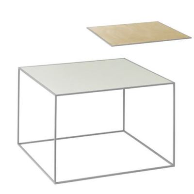 Twin Table - Rectangular Brass & Misty Green, Grey Frame
