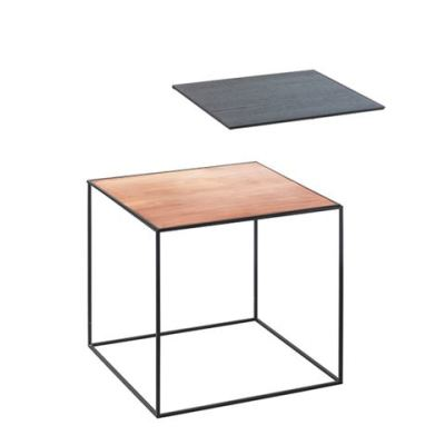 Twin Table - Square Copper & Black Stained Ash, 35 x 35 cm, Black Frame