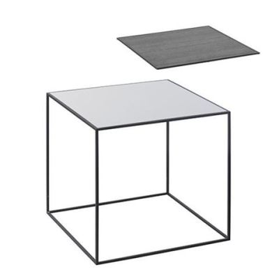 Twin Table - Square Cool Grey & Black Stained Ash, 42 x 42 cm, Black Frame