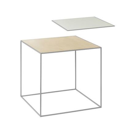Twin Table - Square Brass & Misty Green, 42 x 42 cm, Grey Frame