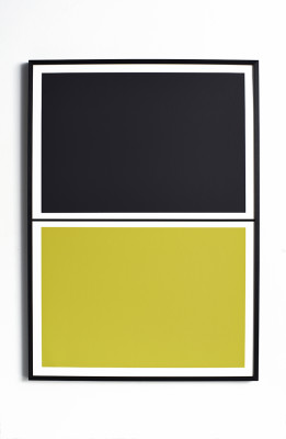 Twin Tone Play Screen Print - Soot Black & Yuzu Yellow Framed