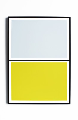Twin Tone Play Screen Print - Yuzu Yellow & Drift Blue With Frame
