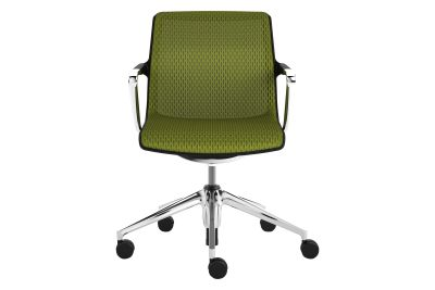 Unix Chair Five-star base Silk Mesh 24 soft grey, 02 castors hard braked for carpet, 30 basic dark