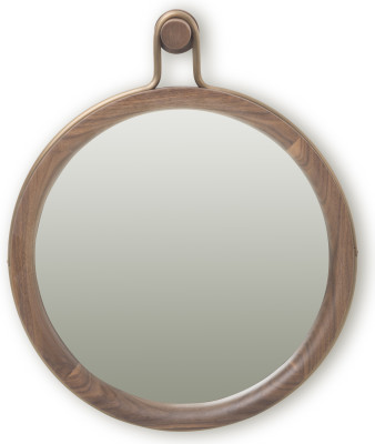 Utility Round Mirror Walnut, Small