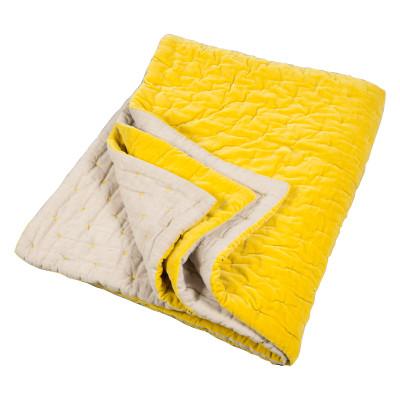 Velvet Linen Quilt Chartreuse & Natural Linen