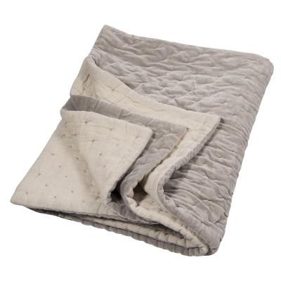 Velvet Linen Quilt Oyster & Natural Linen Bedspread