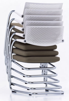 Visavis 2 Chair - Stacking Plano 05 cream white/sierra grey, 30 basic dark, 04 glides for carpet