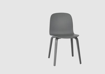Visu Chair Wood Base Dark Gray