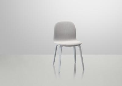 Visu Chair Wood Base - Textile Shell Steelcut Trio 133 / Grey