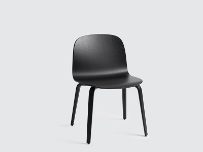 Visu Wide Chair Wooden Base Black/Black