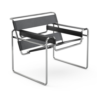 Wassily Lounge Chair Belting Leather, Black