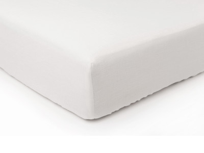 White linen fitted sheet Double