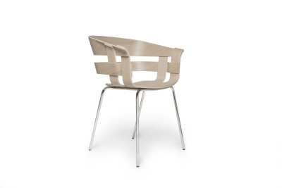 Wick Chair - Metal Legs Oak seat, chrome legs