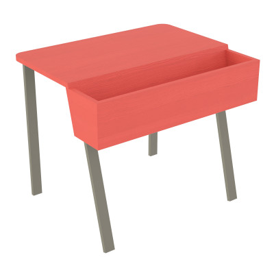 Wing Desk for One Wing Desk for One-red stained solid ash tabletop-grey metal frame