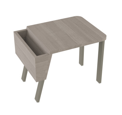 Wing Desk Low Wing Desk Low-grey stained solid ash tabletop-grey metal frame