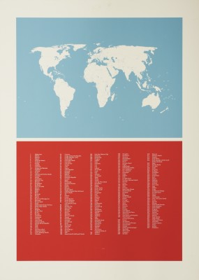 World Map Screen Print Without Frame