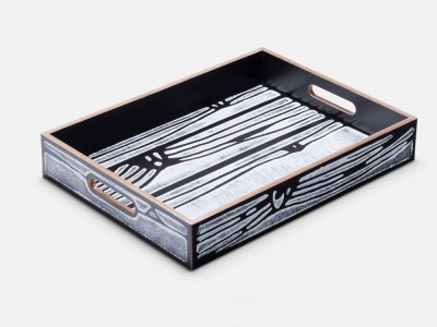 Wrongwoods Tray - Set of 4 White with Black