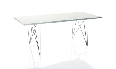 XZ3 Dining Table - Rectangular Black Frame, White Top