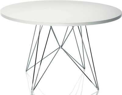 XZ3 Dining Table - Round Chromed Frame, White Top