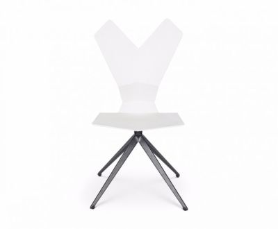 Y Chair Swivel Base White Shell, Black Base