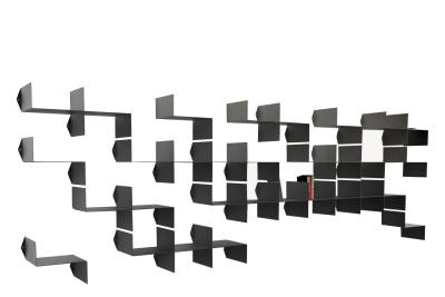 Z-Shelf Kit of 4 Library Modules Left, Black