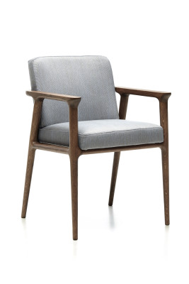 Zio Dining Chair Cervino Leather Anthracite, Moooi White Washed & Cinnamon