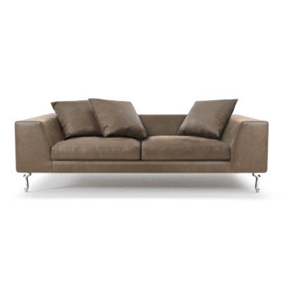 Zliq 2 Seater Sofa Cervino Leather Anthracite, Chromed Cast Aluminium Base