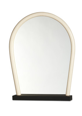 Bent Wood Mirror Black Base, Natural Frame