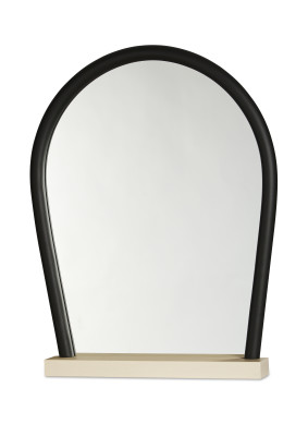 Bent Wood Mirror Light Natural Base, Black Frame