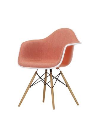 DAW Side Chair with Front Upholstery 65 Ash honey tone, 04 White, 04 Glides basic dark for carpet, Hopsak 79 warmgrey/ivory, 01 basic dark
