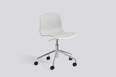 About A Chair AAC50 with front upholstery Leather Silk SIL0197 Cream, White, Polished Aluminium