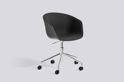 About A Chair AAC52 with front upholstery Leather Silk SIL7008 Purple, White, Polished Aluminium