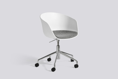 About A Chair AAC52 with seat upholstery Leather Silk SIL7008 Purple, White, Polished Aluminium