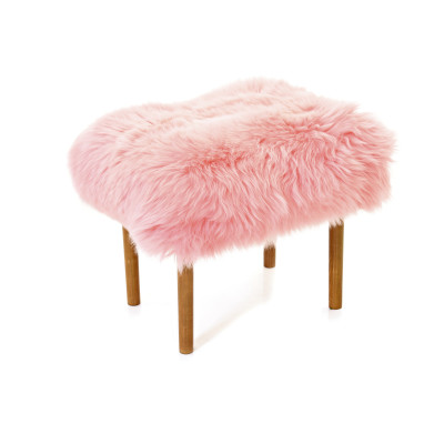 Ceri Sheepskin Footstool  Baby Pink