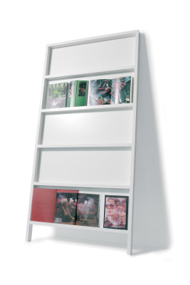 Oblique Book Shelf White Wash, Small