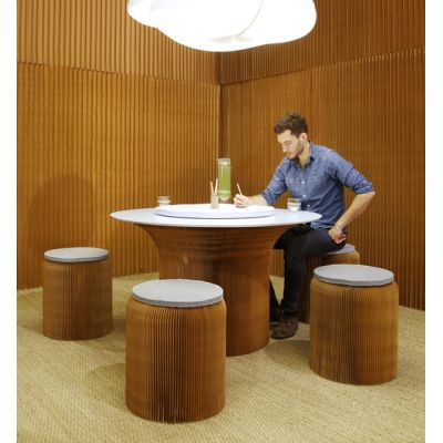 cantilever table circular top | natural kraft paper by molo