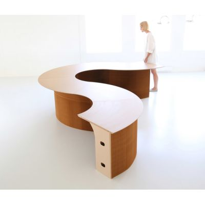 cantilever table modular wedge top | natural kraft paper by molo