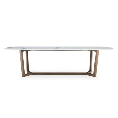 Concorde table by Poliform 218.5x108x74cm,cenere oak,matt bianco carrara