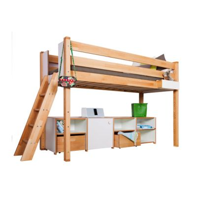 Delite – medium Loft bed with shelves by De Breuyn
