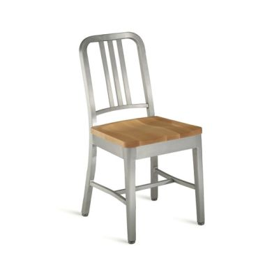 Navy Chair with natural wood seat Hand-brushed