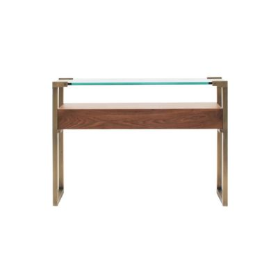 Pioneer T53L Console table with Walnut Wood Brass Patinated Frame