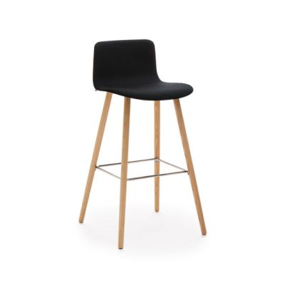 Sola barstool wooden base upholstered low backrest by Martela Oyj