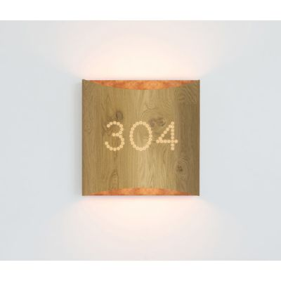 Sophie wall oak copper with number by lasfera