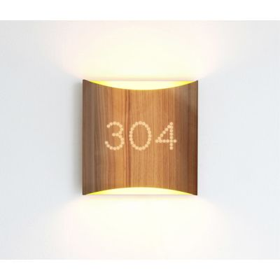 Sophie wall walnut yellow with number by lasfera