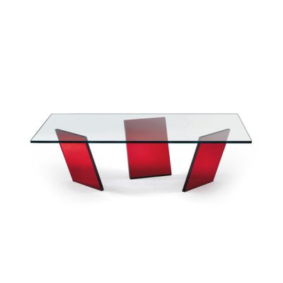 Tango Rectangular Coffee Table by Reflex Red Legs, 120x80 cm Top