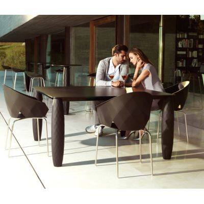 Vases Dining Table -  100 x 100 x 73 cm Bronze