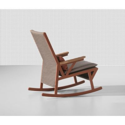 Vieques rocking chair teak armrests by KETTAL